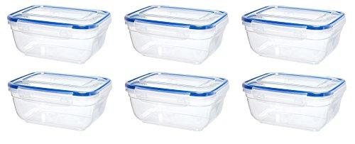 Original Click´n Store Frischhaltedosen-Set 6 mal 800 ml Inhalt #802312 rechteckig / 100% luft- und wasserdicht/spülmaschinengeeignet