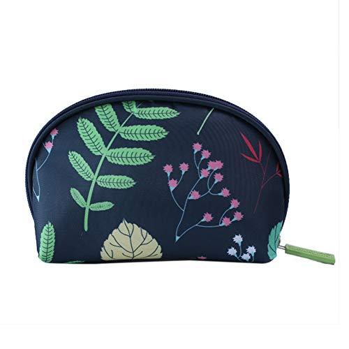 Petits sacs à cosmétiques ELLAAO pour femmes Sac à cosmétiques semi-circulaire Sac à main à motif géométrie mignon avec fermeture à glissière19 * 12 * 6 cm