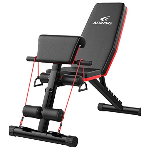 Multifunktion Hantelbank 4 in1 Training Fitness Bank Verstellbar Klappbare Hantelbank Sit-ups Bank mit Profihantel Hantelbank mit Kordelzug Sichere und Stabile Halterung