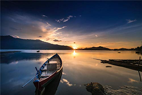 Nonebranded Jigsaws Puzzles 500 Piece Empty Gray Canoe Boat Near Shore During Golden Hour Jigsaw Puzzle Difficult And Challenge,Decompression Puzzle