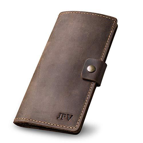 PEGAI Personalized Leather Checkbook Cover | Distressed Leather Checkbook Wallet, Checkbook Case | CLARK (Chestnut)
