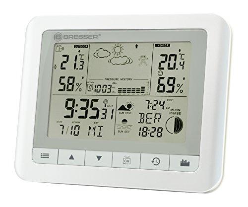 Bresser Funkwetterstation TemeoTrend WF mit Innen-/Außentemperatur und Luftfeuchtigkeit, 6-Stunden-Wettervorhersage, Mondphasen, Außensensor, DCF-Funksignal und Wecker, weiß