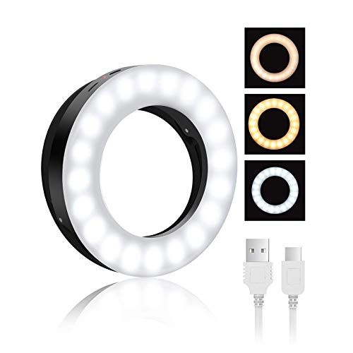 Selfie Ring Light, BlitzWolf Selfie Light with 40 LED & 4 Lighting Modes Rechargeable Clip on Circle LED Light Portable Circle Light for Phone Laptop iPad Photography Video Makeup (Black)