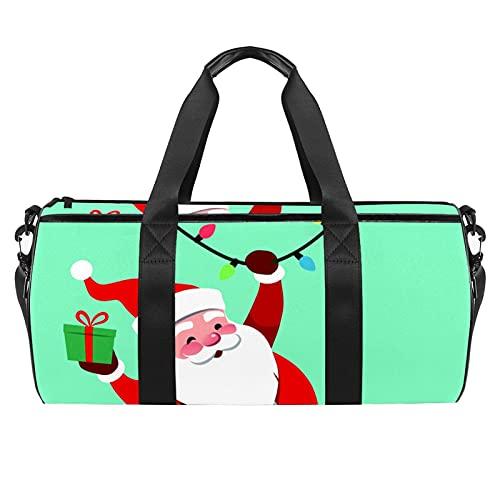 Swinging Santa Claus Sports Gym Bag Bolsa cilíndrica de viaje con bolsillo mojado, bolsa de entrenamiento ligera con correa de hombro para hombres y mujeres
