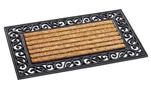 Dandy Felpudo rectangular con efecto de hierro forjado y fibra de coco natural (75 cm x 45 cm)