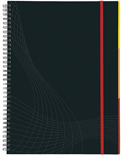 AVERY Zweckform 7024 Notizbuch notizio (A4, Hardcover, Doppelspirale, liniert, 90 g/m², 90 Seiten mikroperforiert, Notizblock mit Verschlussband, Registern und Dokumententasche) dunkelgrau