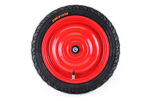 Set: Scheibenrad, Felge 12,5 Zoll mit 8mm Achse, Rot mit Deestone Reifen und Schlauch (Dunlop), fertig montiert für Anhänger, DDR Handwagen, Laufrad