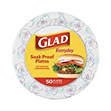 Glad Round Disposable Paper Plates for All Occasions | Soak Proof, Cut Proof, Microwaveable Heavy Duty Disposable Plates | 10' Diameter, 50 Count Bulk Paper Plates