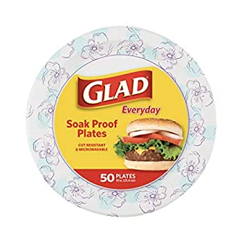 Glad Round Disposable Paper Plates 10 in Blue Flower Soak Proof Cut Proof Microwave Safe Heavy Duty Paper Plates 10  50 Count Bulk Paper Plates Paper Plates 10 Inch Bulk for Parties and Occasions