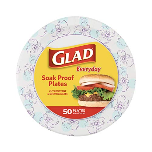 Glad Round Disposable Paper Plates 10 in, Blue Flower|Soak Proof, Cut Proof, Microwave Safe Heavy Duty Paper Plates 10'|50 Count Bulk Paper Plates, Paper Plates 10 Inch, Bulk for Parties and Occasions