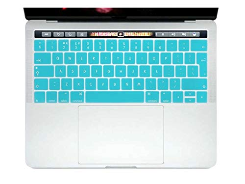 Durable keyboard stickers English EU Silicone Keyboard Cover Skin Protector For Mac NewPro 13' A1706 A2159 Pro 15' A1707 With Touch Bar 2017/2018/2019 Keyboard accessories (Color : Aqua Blue)