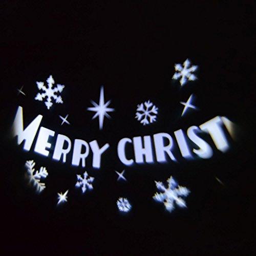 LuminalPark Projecteur Merry Christmas, Ø 10 x 16 x H 45 cm, LED Blanc Froid, Rotation Automatique