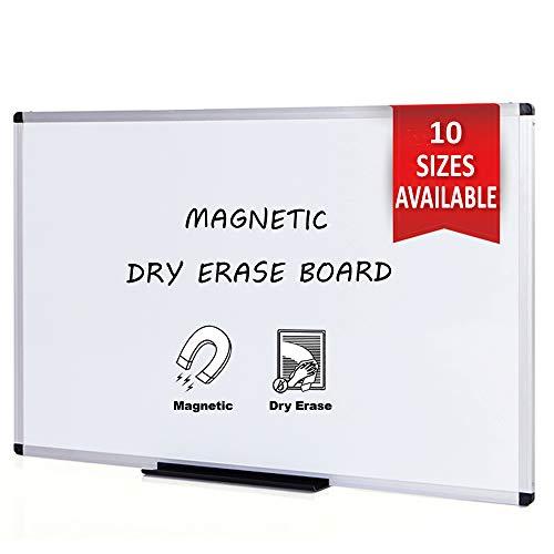 VIZ-PRO Pizarra blanca magnética con marco de aluminio, 180 x 120 cm