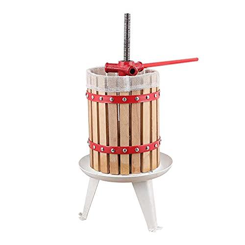 Molinillo de trituradora manual de vino de frutas, exprimidor de sidra con mango, vinos de manzana Scatter Press, Bayas de uva Máquina de prensado, 1.6GALLON / 6LITRE Cesta de madera maciza grande