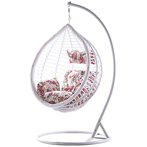 Swing Chair Home Balcony Coarse Rattan Bird's Nest Rattan Chair Hanging Basket Leisure Swing Hanging Chair for Garden (Color : White, Size : 105x195cm)