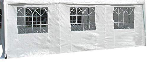 DEGAMO Seitenplane für Zelt 6x4 Meter, PE Weiss mit Fenstern