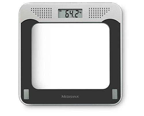 Medisana PS 425 sprechende digitale Personenwaage bis 180 kg - Körperwaage zur Messung des Gewichts -Badezimmerwaage mit Glasoberfläche und Sprachausgabe - 40448