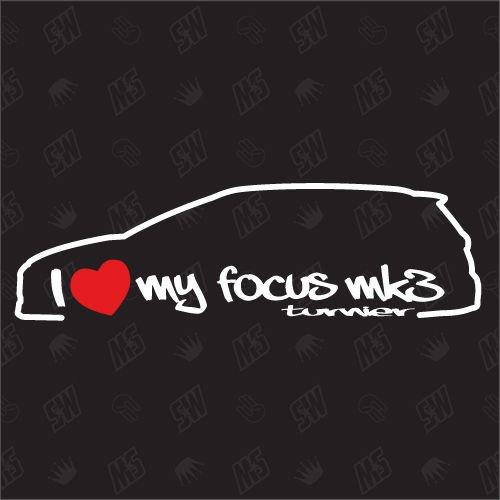 speedwerk-motorwear I Love My Focus MK3 Turnier - Sticker Kompatibel mit Ford - ab Bj. 2010