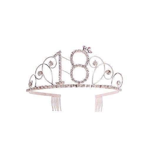 Frcolor Diadema de cumpleaños con corona de 18 años de Tiara de cumpleaños de cristal con peines (oro rosa)