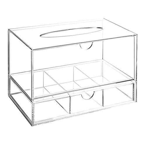 Organizador de maquillaje – Caja – Pañuelo – Cajón – Caja – Dispensador de pañuelos – Cajón de 3 compartimentos – plexiglás – Transparente – Maquillaje – Organizador