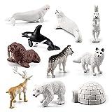 Juego de 10 modelos de animales árticos, simulación de pequeños animales árticos, estatua de animales marinos para niños realistas, sello de husky sólido, beluga, renos, oso polar