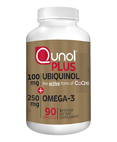 Qunol Plus Ubiquinol CoQ10 100mg with Omega 3 Fish Oil 250mg, Extra...