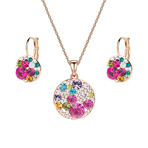 EVEVIC Swarovski Crystals Round Disc Pendant Necklace Earrings for Women 14K Gold Plated Hypoallergenic Jewelry Sets (Rose Main Crystal/Rose Gold-Tone)