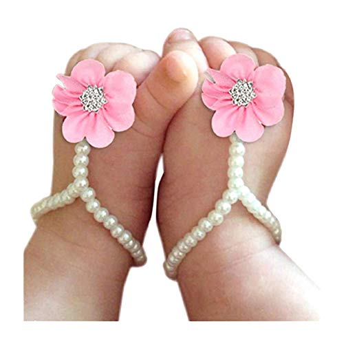Harlorki Baby Girl Pearl Chiffon Barefoot Rhinestone Flower Decoration Sandals Anklets Photograph Costume (Pink)