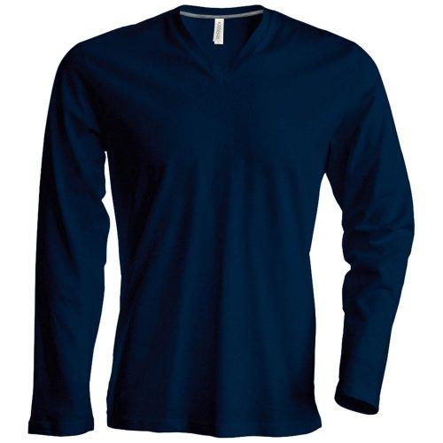 T-shirt à manches longues et col en V coupe cintrée Kariban pour homme (L) (Bleu marine)