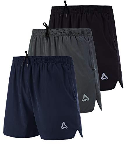 SILKWORLD Men's Running Stretch Quick Dry Shorts with Zipper Pockets(Pack of 3), Black, Deep Navy, Deep Grey, Medium
