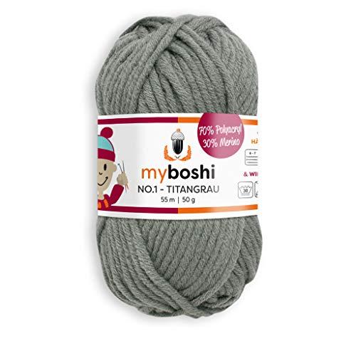 myboshi Häkel- und Strick-Wolle | Modell: No.1 mit Merinowolle | Dickes Garn | Titangrau