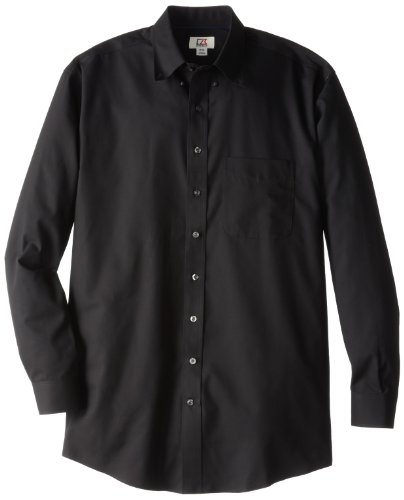Cutter & Buck Herren Big Tall Epic Easy Care Fine Twill Shirt - Schwarz - 4X-Groß