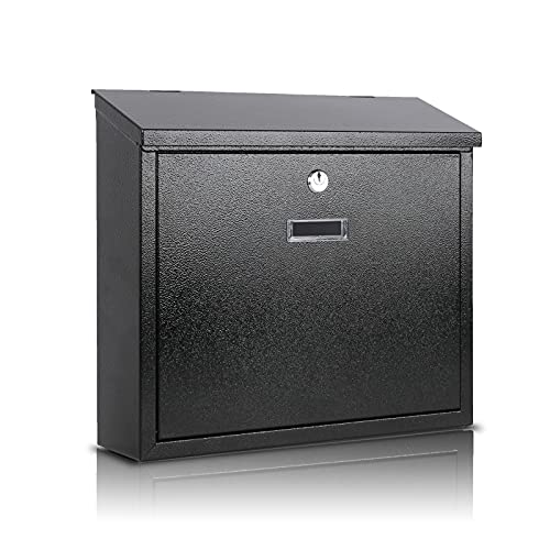 xydled Mail Boxes with Key Lock,Locking Mailbox Wall Mounted,Security Mailbox with Lock and Key,Large Capacity,Steel Cover Metal Postbox for House,14.2X 4X 12.6 Inch, Black