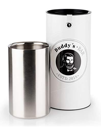 Buddy´s Bar - Weinkühler/Sektkühler Steel, hochwertiger Flaschenkühler aus doppelwandigem Edelstahl, Innendurchmesser 10 cm, Höhe 20 cm, mattiert