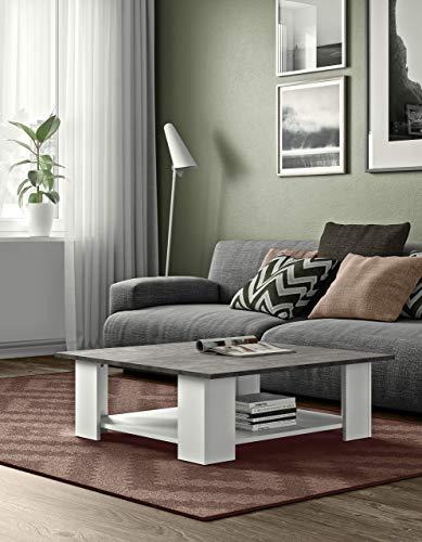 Temahome Table Basse Square 89x89 Blanc et Béton, Gris, 89 x H 31