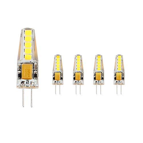 ELINKUME 5X G4 LED Ampoule 3W Blanc Froid, 3W LED Equivalent 23W Ampoule à Halogène, 36mm x 9mm Plus Proche de la Taille Traditionnelle, 6,000K, AC/DC 12V