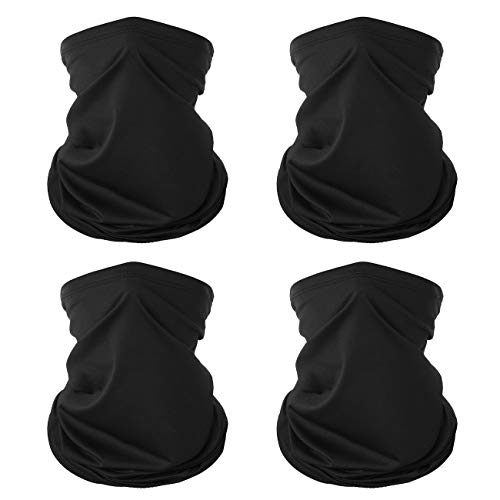 [4 Pack] Neck Gaiter, Neck Gaiter Face Mask, Gaiters Face Mask for Men and Women, Cooling Neck Gaiter Face Mask, Reusable UV Protection Face Cover, Neck Gaiter for Hiking Running Cycling Motorcycle