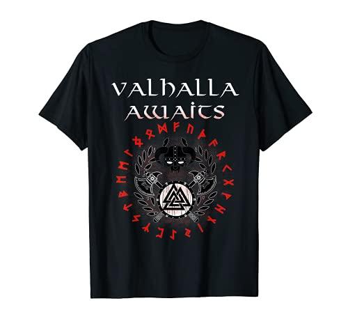 Vikings Old Norse Celtic Pagan Skull Valhalla awaits T-Shirt
