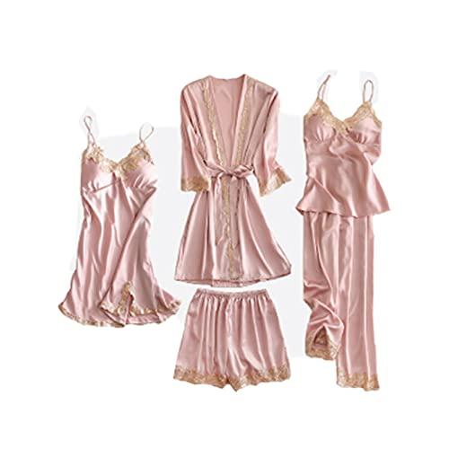 TIANLU Ropa de dormir Mujeres Lencería sexy Encaje Full Slip Babydoll Dress (Conjunto de cinco piezas)(Rosa/SG)