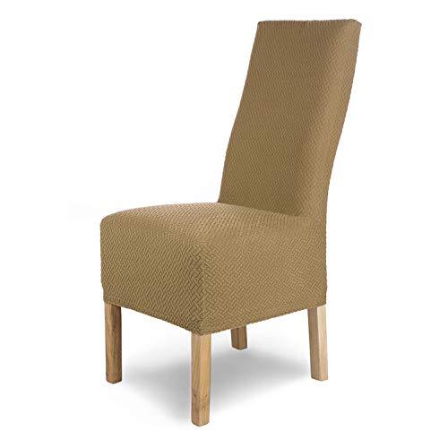 SCHEFFLER-Home Stretch Stuhlhusse Luna-Lang | 4er Set elastische Flanell Stuhlabdeckungen | Stuhlhussen Schwingstühle | Spannbezug mit Gummiband | Elegante Stuhlbezüge