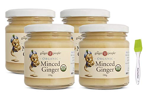 Ginger People Organic Minced Ginger 6.7 oz (Pack of 4) with Prime Time Direct Silicone Basting Brush in a PTD Sealed Bag