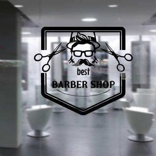 JXFM Beste Friseur Shop Zitate Wandaufkleber Friseur Salon Schönheit Aufkleber Haarschnitt Bart Rasiermesser Schere Dekoration Fenster Poster88x80cm