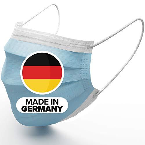 50x Medizinischer OP Masken Mundschutz Made in Germany – TYP IIR Premium Einwegmasken (CE Zertifiziert EN 14683:2019) Deutschland - 3-lagiger Mund Nasen Schutz