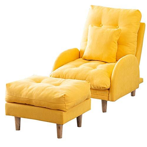 WHOJA Sillón Reclinable Balcón del Dormitorio Sillón de Respaldo 3 Niveles de Ajuste Acolchado Diseño extraíble Sofá Individual 150 kg de Carga Sillon Relax(Color:Amarillo)
