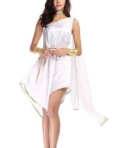 Gladiolus Griechische Göttin Kostüm, Damen Kleider Göttin Kostüm Für Karneval Halloween Fasching Weiß Eine Größe