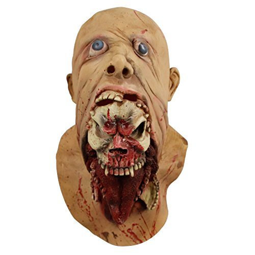 Molezu Blurp Charlie Zombie Mask Latex,Gruesome Parasite Costume,Scary Ghoulish for Hallowee Party