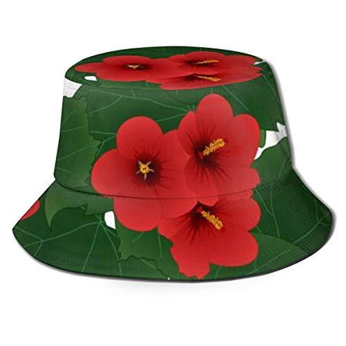 Gorras Red Hibiscus Syriacus - Rose of Sharon Sombrero de Pescador Adultos Sombrero de Cubo Pesca de Verano Fisher Beach Gorra para el Sol