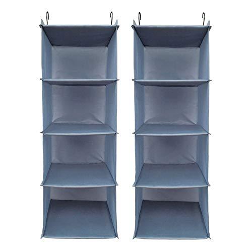 BrilliantJo 2er Set Kleiderschrank Organizer, 4 Fächer hochwertige Hänge Schrankorganizer mit Eisengestell Hängeregal Organizer Aufbewahrungssystem Set Blau-grau