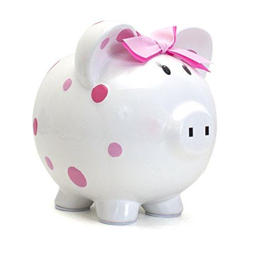 Child to Cherish Ceramic Polka Dot Piggy Bank for Girls, Pink