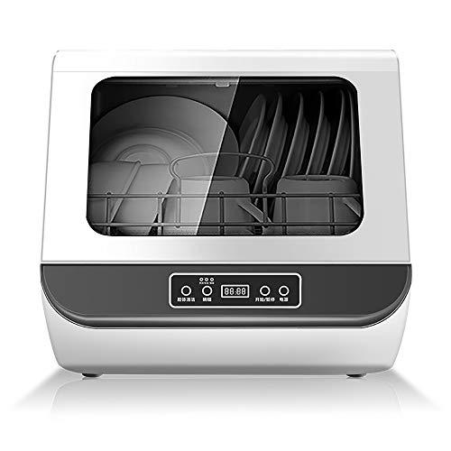 AoYan Kompakte Spülmaschine, 5 Waschprogramme, Lufttrocknungsfunktion, Babypflege, Obstwäsche, zweischichtige Glastür, Weiß